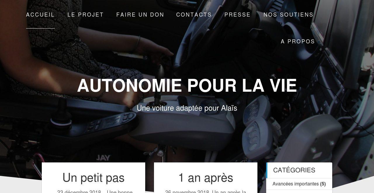 Association Autonomie pour la Vie - Une voiture pour Alaîs. <br> Participation et hébergement grâcieux de Digital Informatique